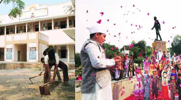 Students of BN High School, Vadnagar, where PM Narendra Modi studied from 1963-67, clean their campus. Anjumne-e-Islam school students pay homage to Jawaharlal Nehru and students participate in a function on Children's Day in Ahmedabad on Friday.(Source: Express photo by Javed Raja and Satish Jha)