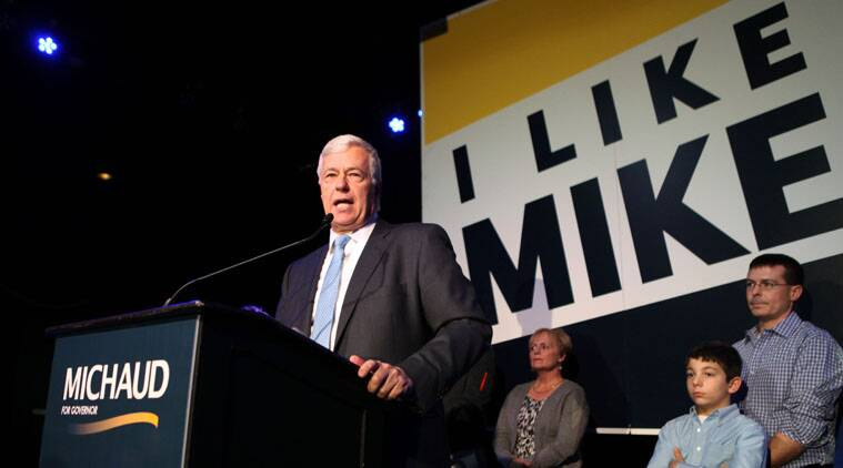 In this file photo, Rep Mike Michaud, a gay candidate, concedes defeat to Gov. Paul LePage at an election night rally in Portland, Maine.