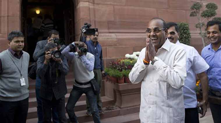 Shiv Sena leader Anant Geete arrives on the opening day of the winter session of the Indian parliament in New Delhi. (Source: PTI)
