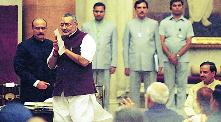 Giriraj Singh salutes colleagues as he heads take oath at Rashtrapati Bhavan on Sunday. (Source: Express photo by Neeraj Priyadarshi)