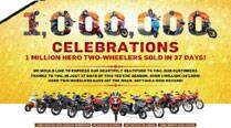 Hero MotoCorp celebrates 1 million two-wheeler sales in 37 days