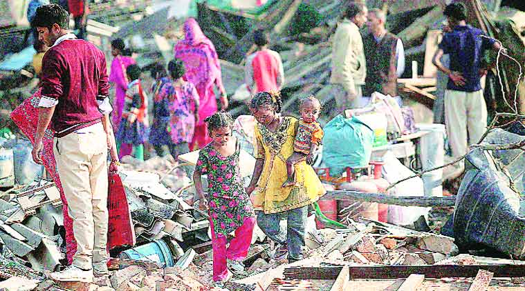 Residents of Rangpuri Pahadi slum cluster said they were not served eviction notices. (Source: Express photo by Tashi Tobgyal)