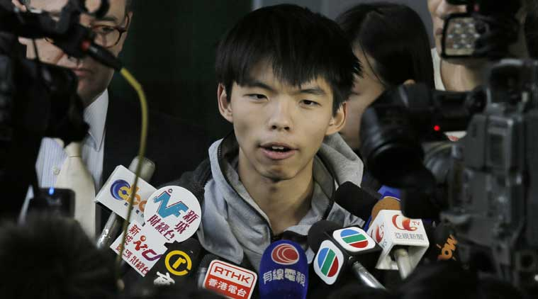 Prominent Hong Kong student protest leader Joshua Wong. (Source: AP photo)