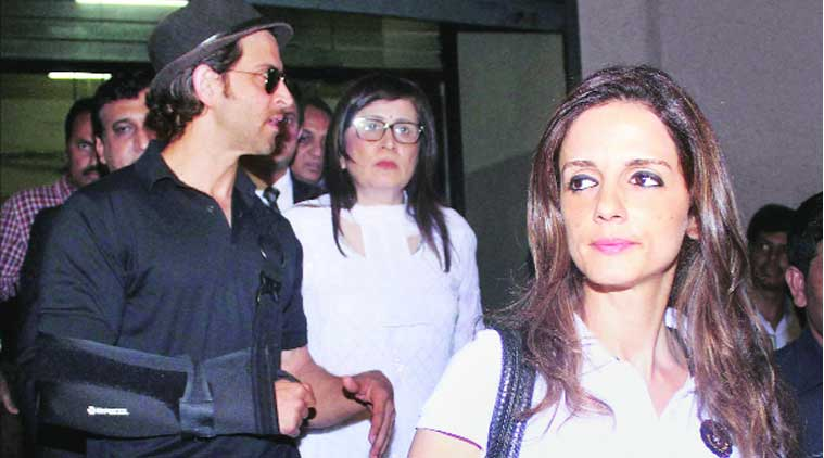 Hrithik Roshan and Sussane Khan outside the court  on Saturday. (Source: PTI)