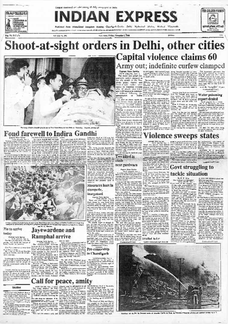 Page from The Indian Express, Nov 2, 1984