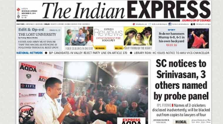 This is the front page of today's edition of the India Express.