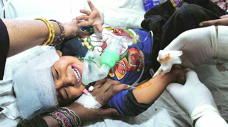 An injured child at a Lahore hospital.(Source: AP photo)