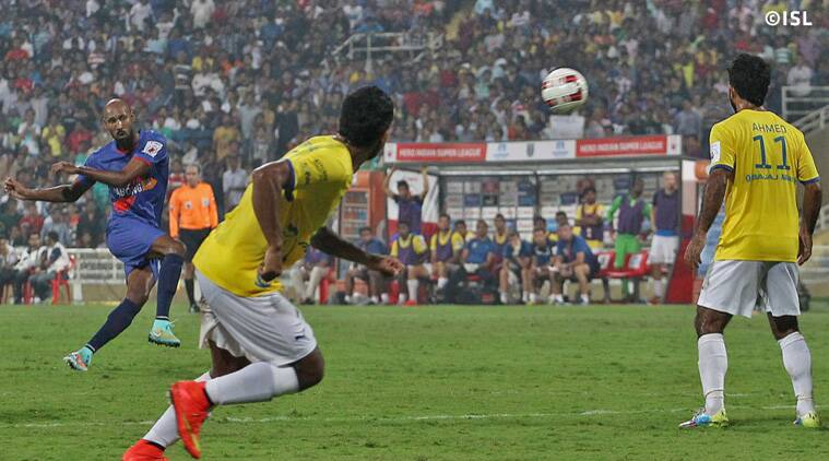 Anelka's strike curled above the defensive wall to the left post with goalkeeper diving in a desperate attempt. (Source: ISL)