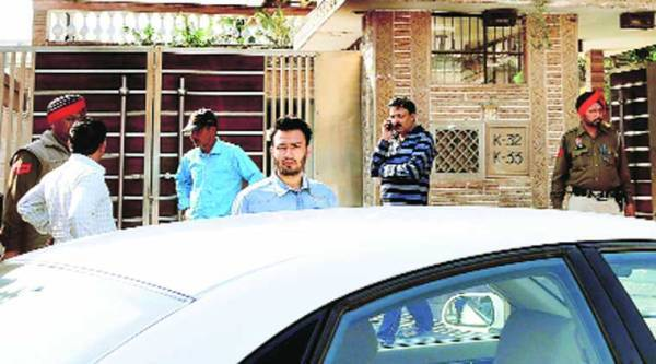 Outside the residence of owner of Khushi Ram and Sons sweet shop in Sarabha Nagar in Ludhiana on Sunday. (Express photo Gurmeet Singh)