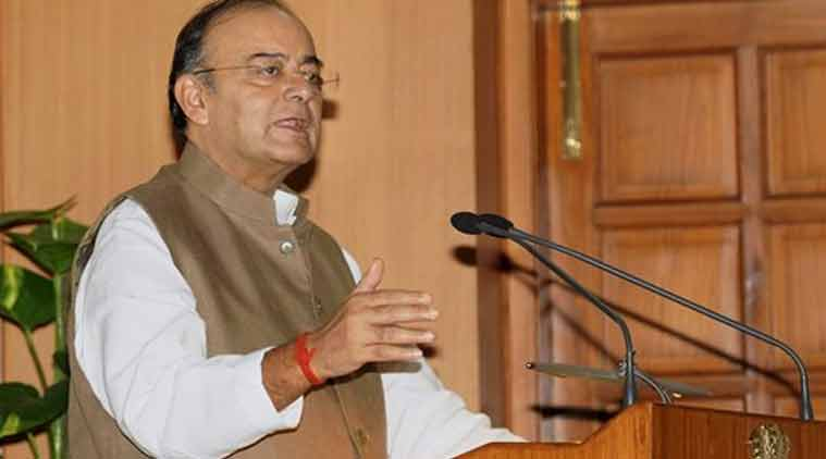 Union Finance Minister Arun Jaitley addresses NDA MP's during a High tea hosted by Prime Minister Narendra Modi at his residence in New Delhi on Sunday. (Source: PTI photo)