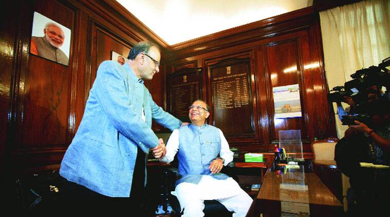 Arun Jaitley welcomes Jayant Sinha as his new deputy on Monday. (Source: Express photo byPraveen Khanna)