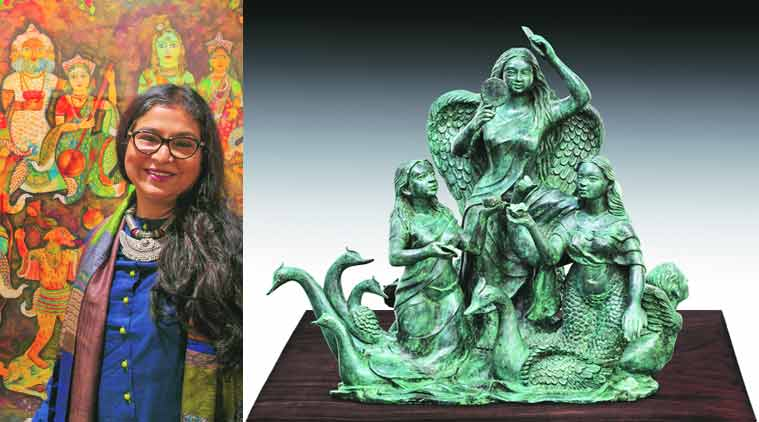 Jayasri Burman will display sculptures for the first time; (right) the artist returns after a hiatus of four years.