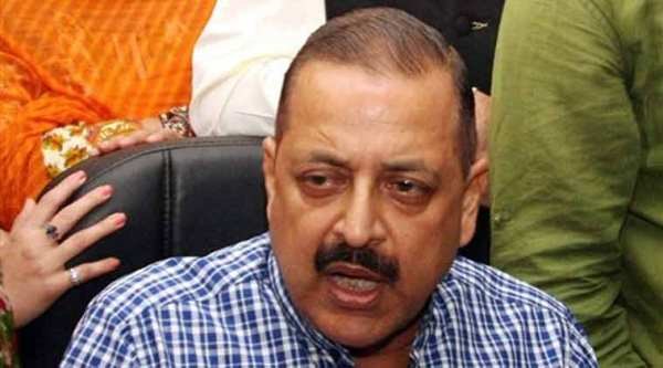 Union Minister of State in Prime Minister's Office Jitendra Singh addressing a press conference ahead of the Assembly elections in Jammu on Tuesday. (PTI Photo)