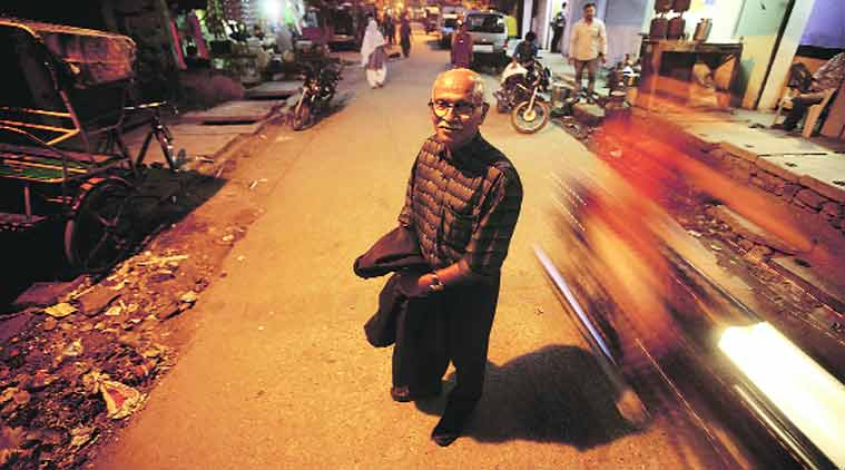 Joseph Maliakan in Trilokpuri, 30 years after what was his most heartrending assignment.(Source: Express photo by Praveen Khanna)