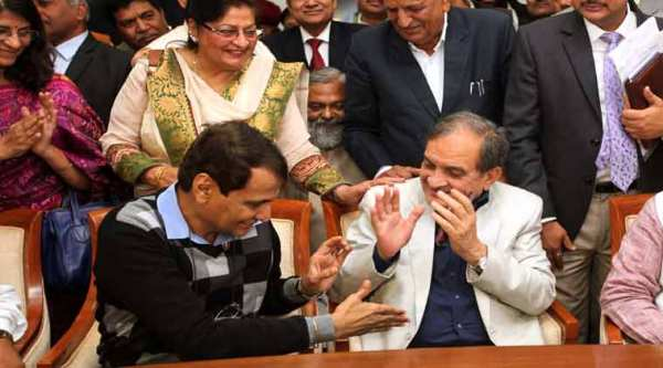 Union Railway Minister Suresh Prabhu (left) shaking hand with Union Ministers Birender Singh after nominated by BJP for by-elections to two Rajya Sabha seats in Haryana at Haryana Vidhan Sabha in Chandigarh on Tuesday, November 25 2014. (Express photo by Jaipal Singh)