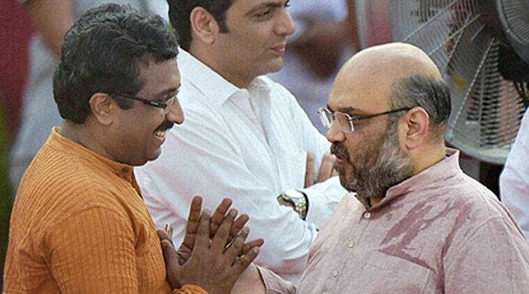 Ram Madhav (Left) and Amit Shah (Right). (Source: PTI)