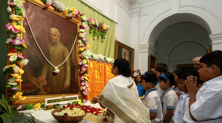 Chief Minister Mamata Banerjee pays tribute to pandit Jawaharlal Nehru on his 125 birth anniversary at West Bengal State Assembly on Friday. (Source: Express photo by Subham Dutta)