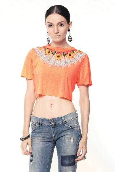 A model displaying a necklace print crop top
