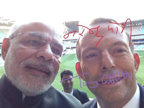Narendra Modi on a selfie spree, clicks one with Australian PM Tony Abbot