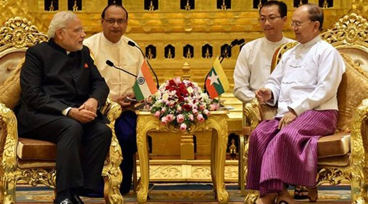 Prime Minister Narendra Modi with President of Myanmar, U Thein Sein during a meeting at Presidential Palace in Myanmar on Tuesday. (Source: PTI photo)
