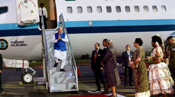 Prime Minister Narendra Modi arrives at the Nausori International Airport in Fiji on Wednesday. (PTI Photo)