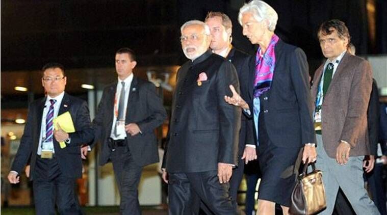 Prime Minister Narendra Modi with IMF chief Christine Lagarde (R) during the Leader's Walk at the G20 summit in Brisbane (Source: PTI)
