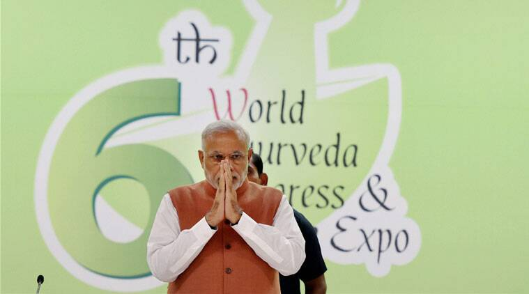 Prime Minister Narendra Modi at the valedictory function of the 6th World Ayurveda Congress in New Delhi on Sunday. (PTI Photo)