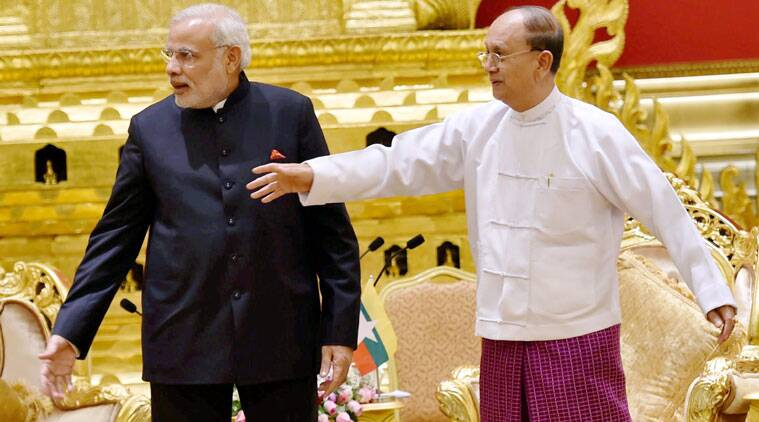 PM Narendra Modi with Myanmar President U Thein Sein on Tuesday. (Source: PTI)