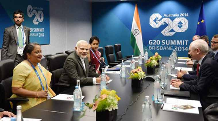 Prime Minister Narendra Modi and President of European Council, Herman Van Rompuy during a meeting in Brisbane, Australia on Friday on the sidelines of G 20 Summit. (Source: PTI photo)