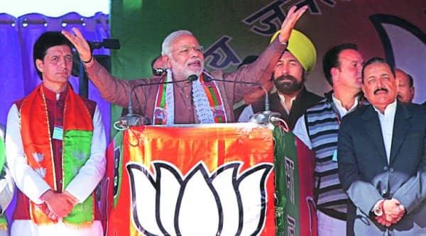 Modi addresses a rally in Kishtwar on Saturday. (Source: Express photo)