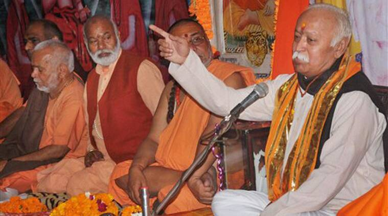 RSS chief Mohan Bhagwat at a religious event in Haridwar on Friday. (PTI Photo)