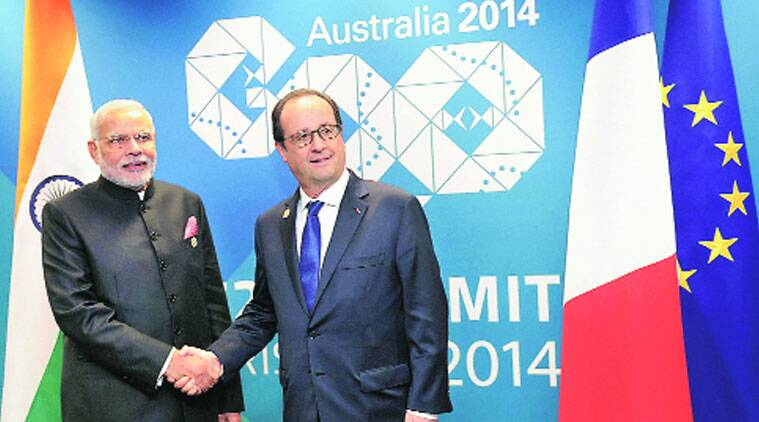 PRIM MINISTER Narendra Modi with French President Francois Hollande at the bilateral meeting in Brisbane on Saturday. (Source: PTI)