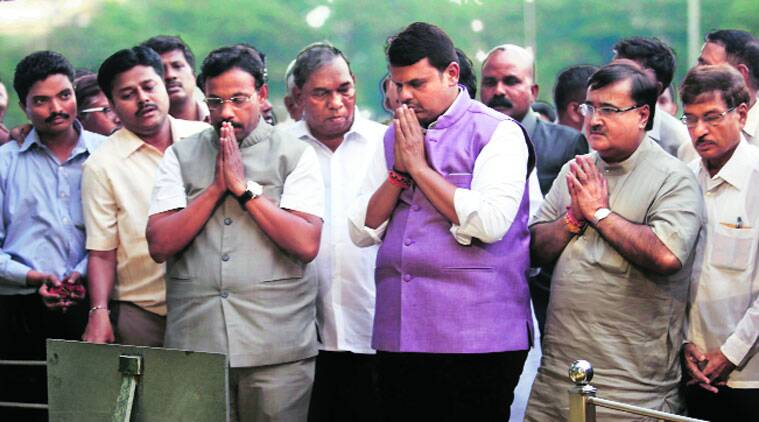Chief Minister Devendra Fadnavis at Bal Thackeray's memorial in Mumbai on Saturday. (Vasant Prabhu)