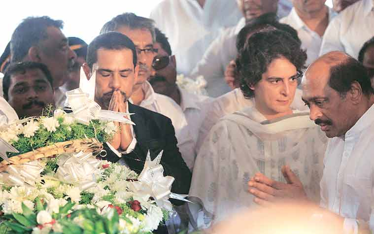 Priyanka Gandhi Vadra and her husband Robert Vadra. Congress leader Manikrao Thakre (extreme right) is also seen.