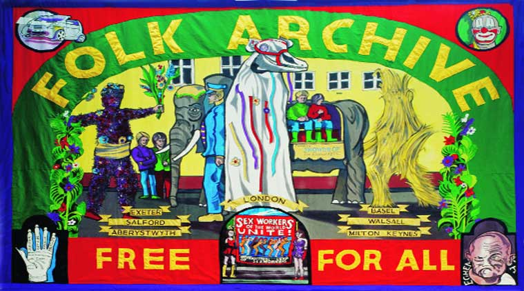 "Ed Hall's hand-sewn banners for trade unions caught the artist's eye and became one of their first acquisitions for ""Folk Archive"""