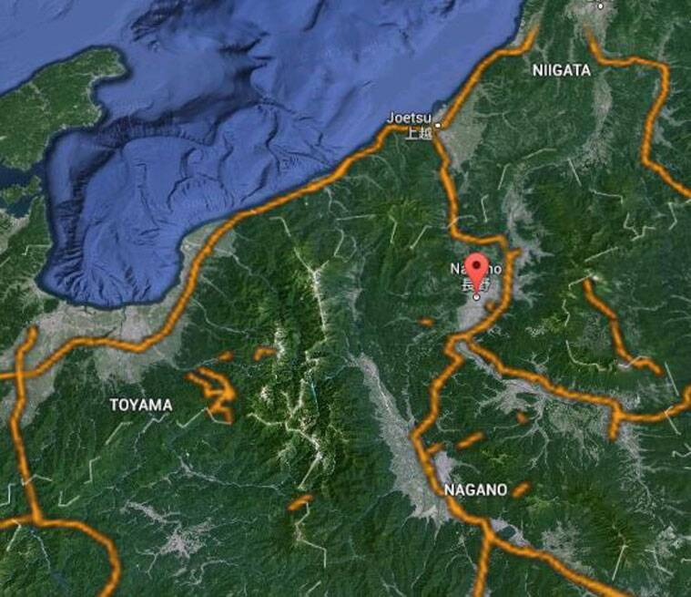 The red pointer shows Nagano prefecture in Japan. (Source: Google Earth)