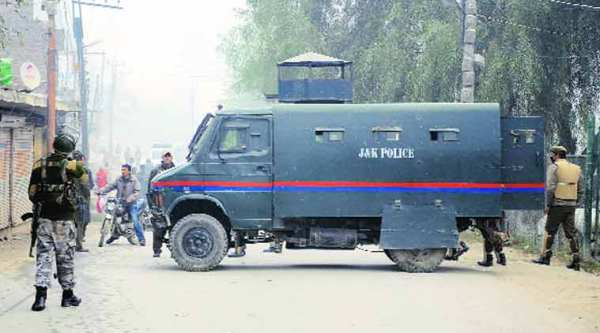 The situation remained tense in Budgam's Chattergam area on Tuesday. (Express photo by Shuaib Masoodi)