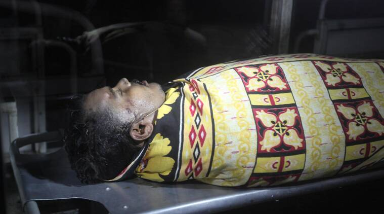 Body of Korpan Sha at NRS mortuary Korpan  a resident of Shapara,Ulberia, Howrah district. (Source: Express photo by Partha Paul)