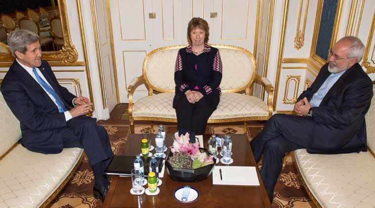 From left: US Secretary of State John Kerry, former EU Foreign Policy Chief Catherine Ashton and Iranian Foreign Minister Mohammad Javad Zarif meet for talks on the sidelines of nuclear talks with Iran aimed at settling a dispute over Iran's nuclear program at the Palais Coburg in Vienna on Saturday. (Source: AP)