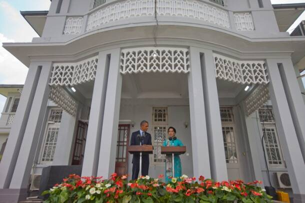 When Barack Obama planted a kiss on Aung San Suu Kyi's cheek