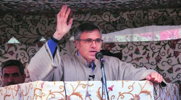 J&K CM Omar Abdullah during a rally at Ganderbal
