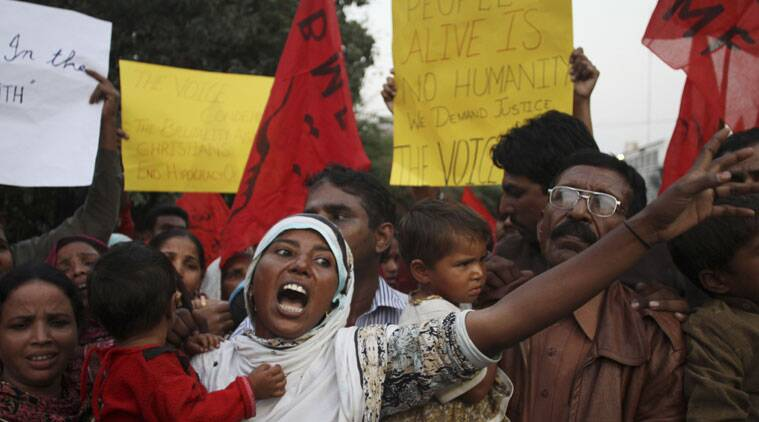 Family members of a Pakistani Christian couple who were allegedly killed by a mob demonstrate in Lahore, Pakistan, Thursday, Nov. 6, 2014. Police in Pakistan said they have arrested as many as 45 Muslims in connection with the killing of the Christian couple for allegedly desecrating the Quran. Under Pakistan's harsh blasphemy laws, anyone convicted of insulting Islam or the Prophet Muhammad can be sentenced to death. However, the laws are often misused to settle personal scores and target minorities. (Source: AP)