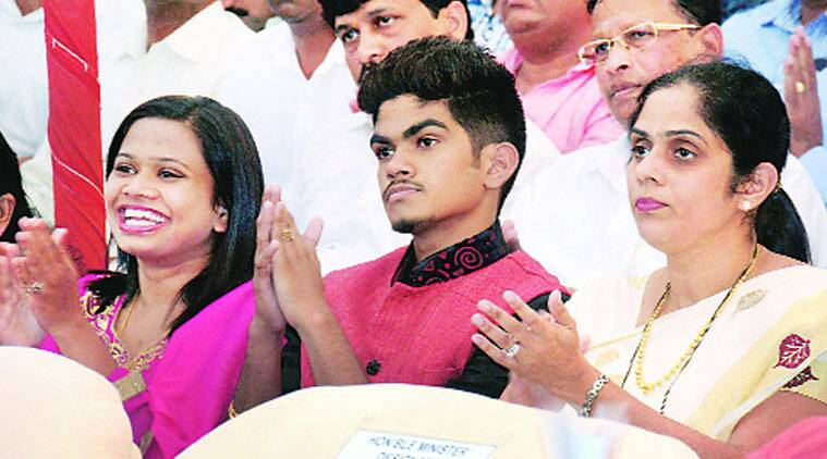 Parsekar's family at the swearing in ceremony in Panaji on  Saturday.(Source: PTI)