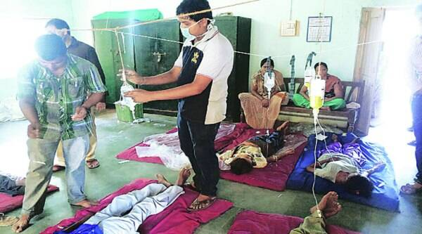 Patients undergoing treatment at Taluka panchayat office. (Source: Express photo)