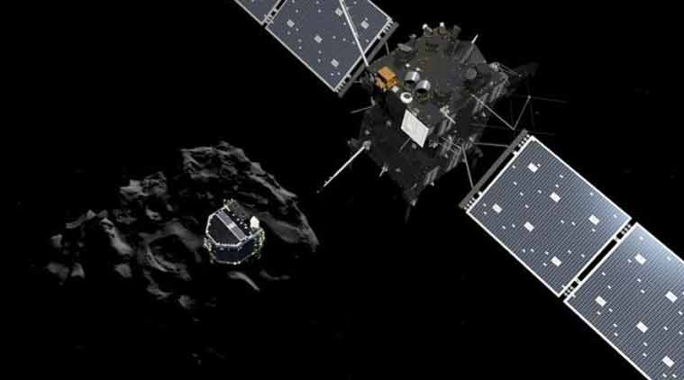 A handout artist impression showing lander Philae separating from the Rosetta spacecraft and descending to the surface of comet 67P/Churyumov-Gerasimenko, made available by the European Space Agency (ESA) on November 12, 2014. (Source: Reuters)