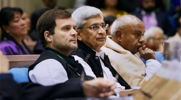 Congress Vice President Rahul Gandhi with CPI(M) General Secretary Prakash Karat and former PM H.D. Deve Gowda at the two-day long international conference to commemorate the 125th birth anniversary of Pt Jawaharlal Nehru. (Source: PTI photo)