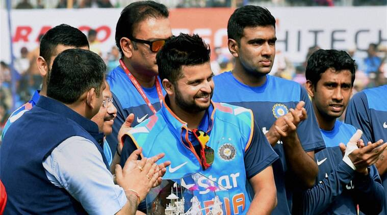 Suresh Raina was felicitated before the start of play on Monday at Cuttack. (Source: AP)