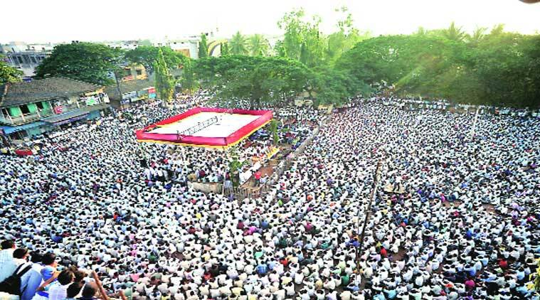 The rally at Jaisingpur in Kolhapur on Saturday. (Source: PTI)