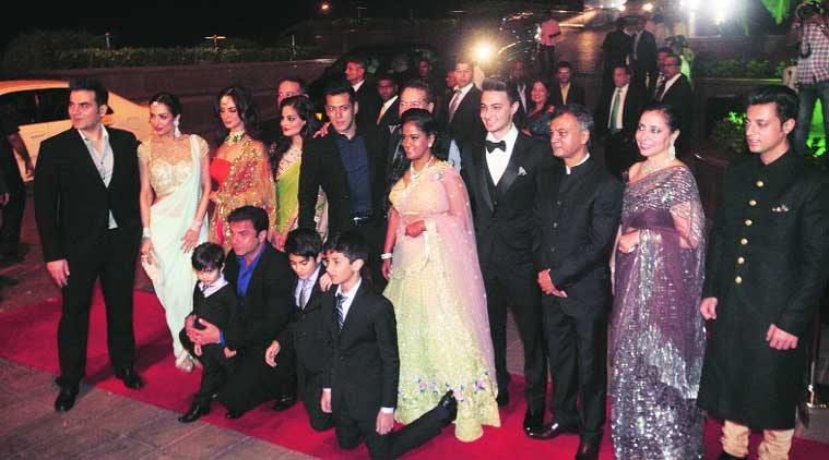 The Khans pose for a family picture with the newly weds (Source: Express photo by Dilip Kagda)