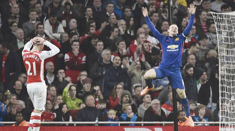 After Arsenal defender Kieran Gibbs gave Man Utd the lead by scoring an own goal, Wayne Rooney netted for United. (Source: Reuters)